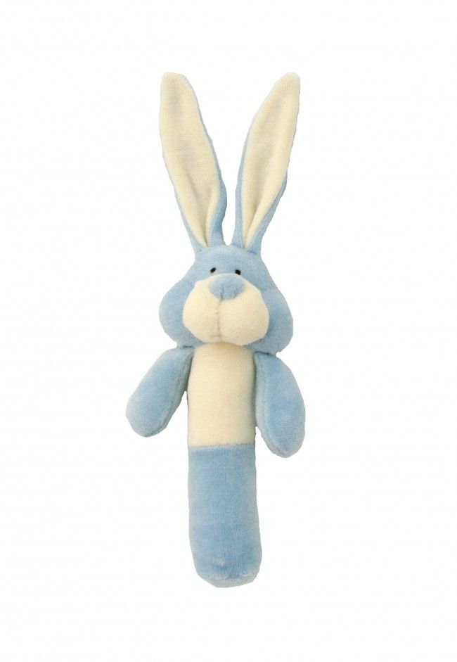 Wooly Organic Rattle Soft Toy - Blue Bunny