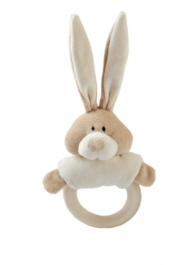 Wooly Organic Wooden Teether Soft Toy - Bunny