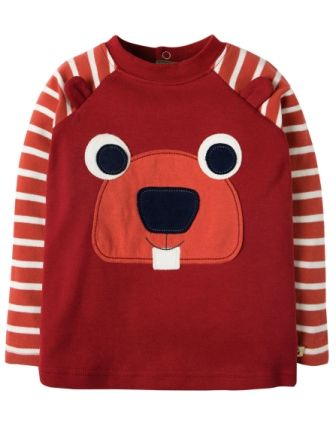 Frugi Happy Raglan Top Maple Beaver