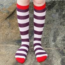 Duns Knee High Socks Wine Stripe