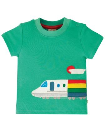 Frugi Aqua Train Cooper Applique Top