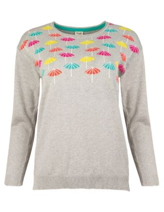 Frugi Bloom Daisy Jumper Grey Marl Parasols