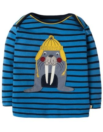 Frugi Bobby Applique Top Blue Breton Walrus