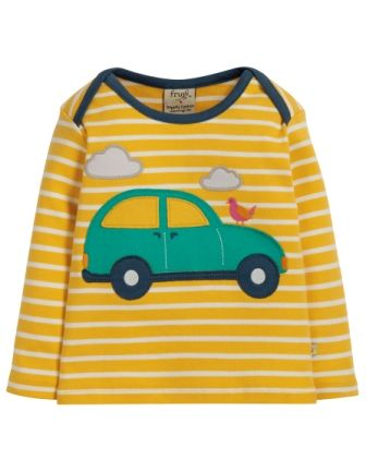 Frugi Bobby Applique Top Bumble Bee Breton Car