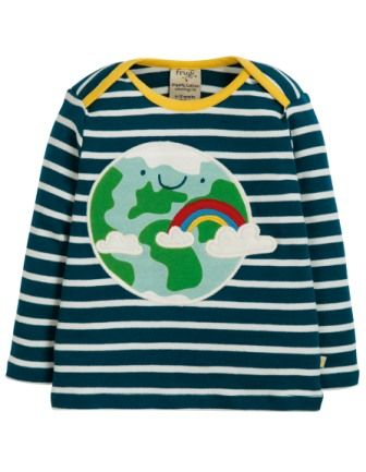 Frugi Bobby Applique Top Space Blue Breton Earth