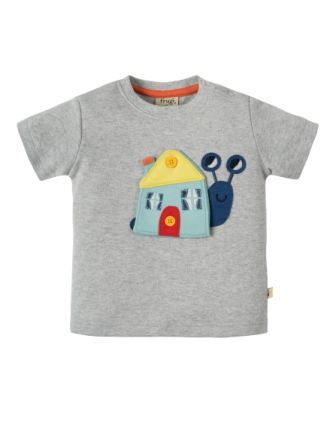 Frugi Button Off Applique Top Grey Snail