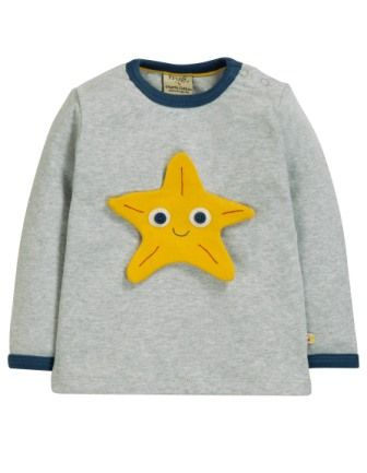 Frugi Button Off Applique Top Sea Friends