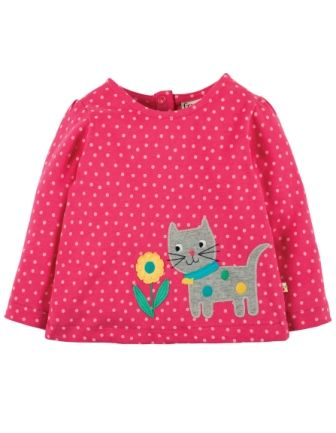 Frugi Connie Applique Top Pink Spot Cat (0-3mths)