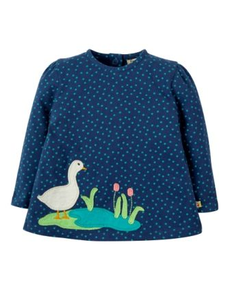 Frugi Connie Top Marine Scatter Spot Duck