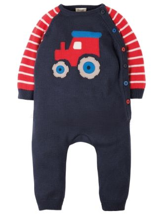 Frugi Cosy Knitted Romper Navy Tractor