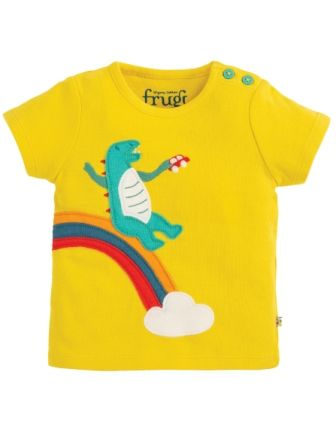 Frugi Dino Scout Applique Top Sunflower