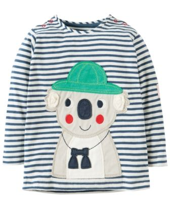 Frugi Everest Applique Top Navy Breton Koala