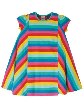 Frugi Flamingo Multi Stripe Elodie Twirly Dress