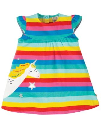 Frugi Flamingo Multi Stripe Unicorn Little Lola Dress