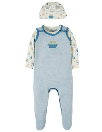 Frugi Giggling Gift Set Surf Blue Boat