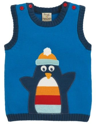 Frugi Hank Knitted Tank Top Penguin