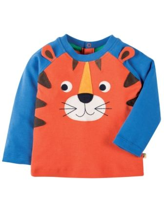 Frugi Happy Raglan Top Orange Tiger (0-3mths)