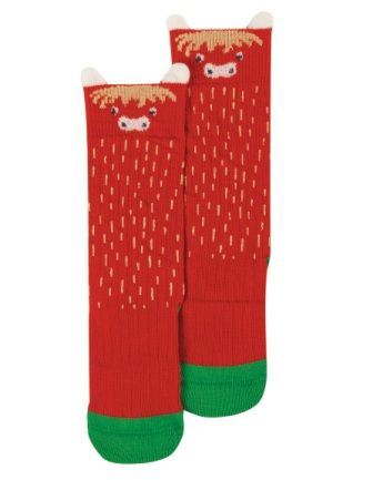 Frugi Highland Cow Friendly Face Socks