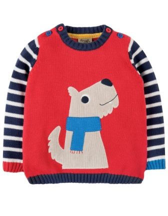 Frugi Jack Knitted Jumper Tomato Dog