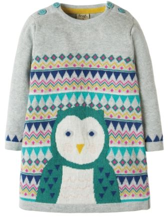 Frugi Keira Knitted Dress Grey Marl Barn Owl