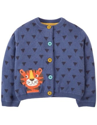 Frugi Little Betsy Cardigan Blue Lake Tiger (6-12mths only)