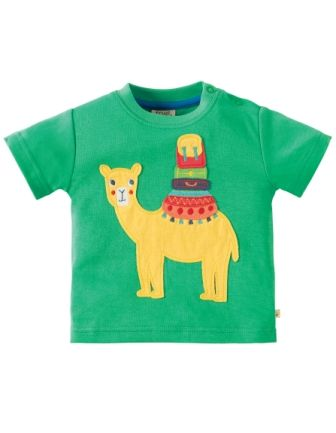 Frugi Little Creature Applique Top Green Camel
