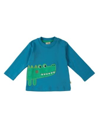 Frugi Little Discovery Applique Top - Crocodile (0-3mths only)