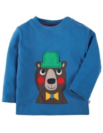 Frugi Little Discovery Applique Top Sail Blue Bear