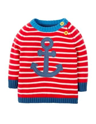Frugi Little Finn Knitted Jumper Tomato Stripe Anchor