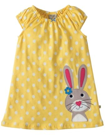 Frugi Little Lola Dress Sun Yellow Rabbit