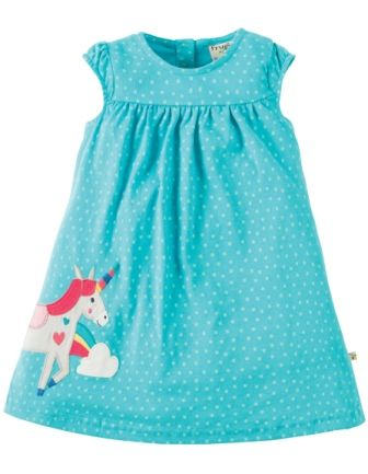 Frugi Little Lola Dress Turquoise Spot Unicorn