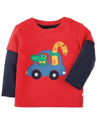 Frugi Little Look Out Applique Top Tomato  Car