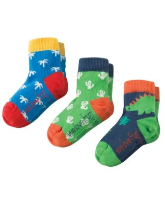 Frugi Little Socks 3 pack Dino Multipack SS18
