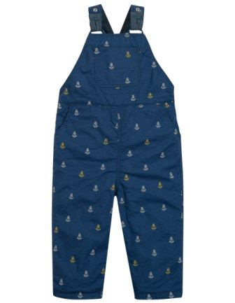 Frugi Little Tom Dungaree Marine Blue Anchor