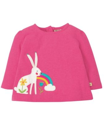Frugi Mabel Applique Top Flamingo Arctic Hare