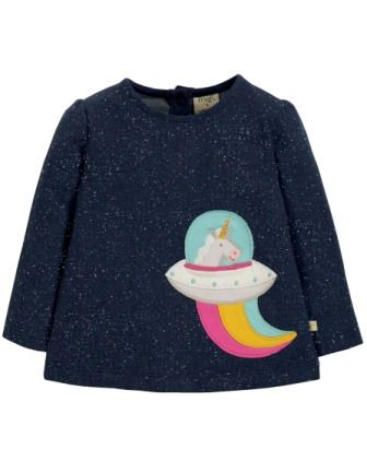 Frugi Mabel Applique Top Space Blue Unicorn