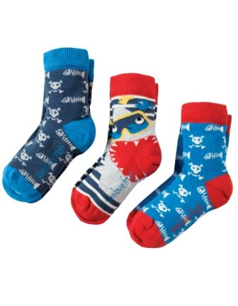 Frugi Rock My Socks Sharks 3 pack
