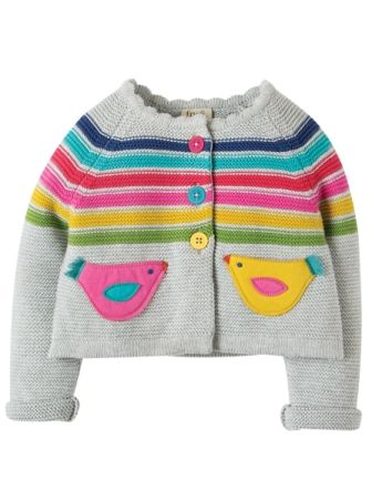 Frugi Sarah Swing Cardigan Grey Bird (0-3mths)