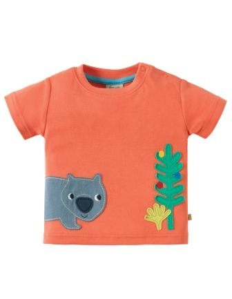 Frugi Scout Applique Top Orange Koala